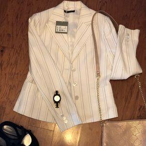 Giorgio's of palm beach white pin striped blazer.